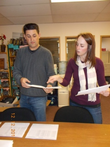 Stuffing the packets - Jeff and Stacey help stuff all the packets.