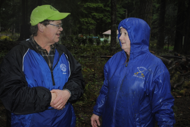 Camp Facility Manager, Karen von Borstel, compliments Blanchet School youth to Blanchet instructor, Sheri Bashaw