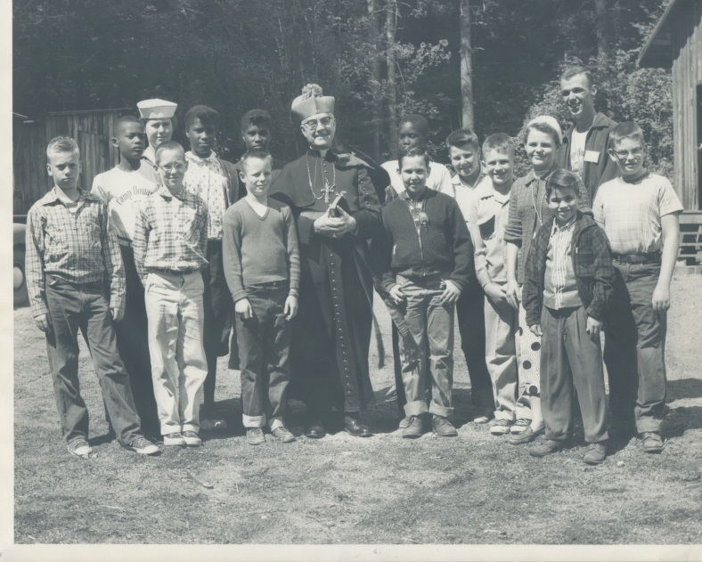 Camp Howard Campers with Archbishop Howard circa 1953
