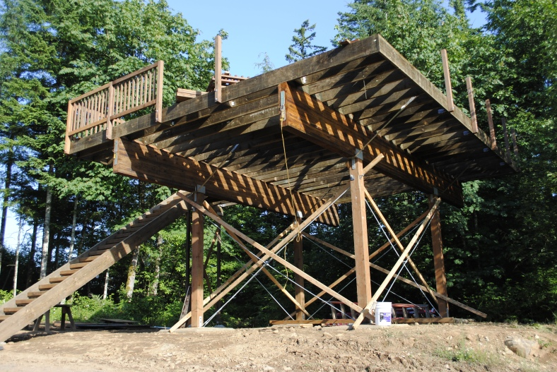 Star Deck tower at Camp Howard is rebuilt July 2013 by Schommer and Sons Construction Company
