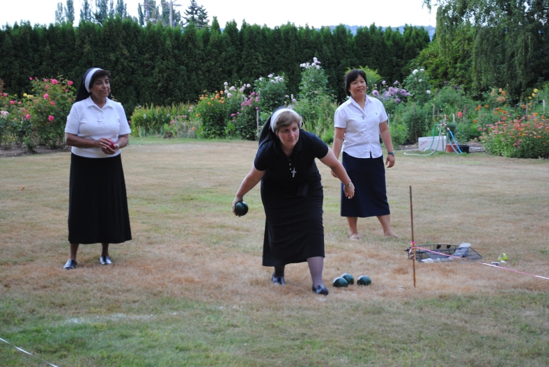 Sister Adele Marie Altenhofen takes her turn