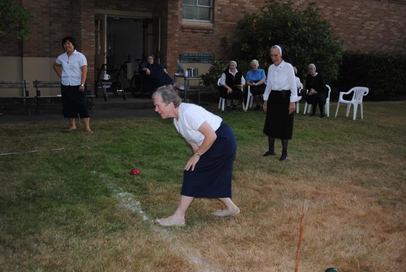 Sister Maryann Giesel takes her turn
