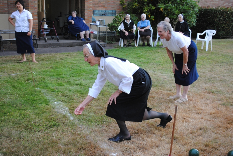 Sister John Therese Miller shows her form