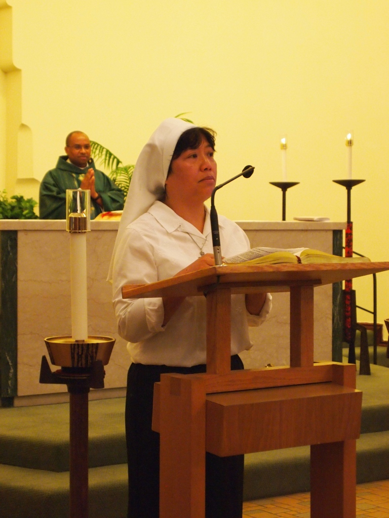 Sister Anna Nguyen thanks the Sisters of St. Mary of Oregon and addresses her family and friends in her native tongue