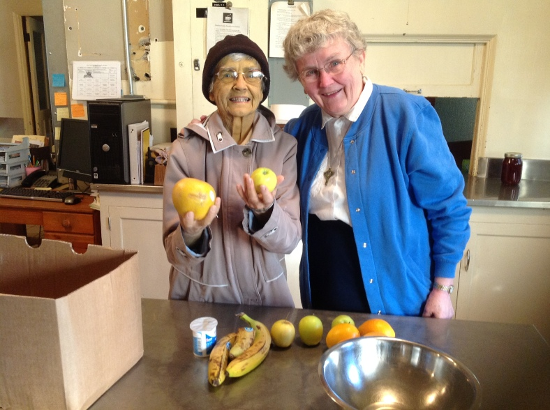 Sister Anna Hertel and Sister Catherine Hertel team up for the fruit salad!
