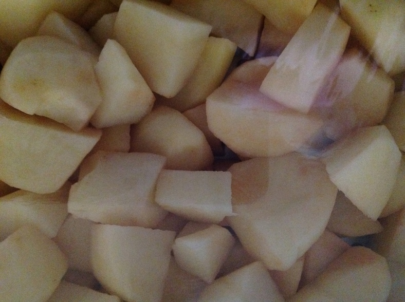 Potatoes all cut up and ready to cook