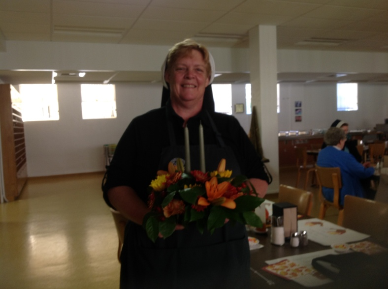 Me and my flowers from my cousin Dan and his wife, Rhonda (Indiana)