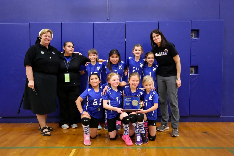 Valley Catholic Third Grade Volleyball Team wins the Spike Tournament 2014 Head Coach: Arellano