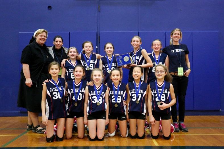 "Cathedral 5th Grade Volleyball team wins the CYO ""Spike"" Championship 2014!"