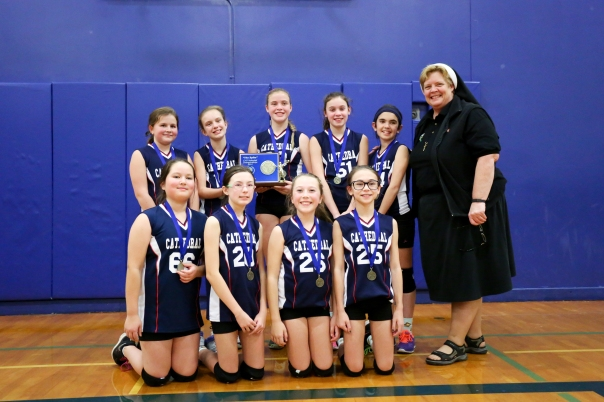 6th Grade Girls Champions for the CYO Spike Tournament CATHEDRAL