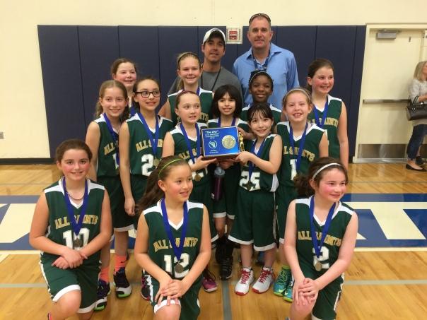 All Saints 4th Grade Girls win CYO Basketball Championship 2015 at Valley Catholic High School