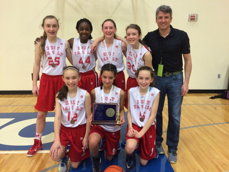 Bill Mildenberger and his Holy Family Girls Team from Holy Family win third place in the CYO City Basketball Championships 2015!