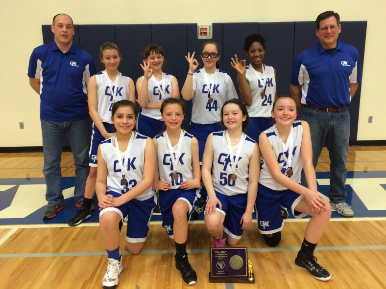Christ the King 7th Grade Girls win third place in the CYO City BXB Championships 2015 at Valley Catholic High School.