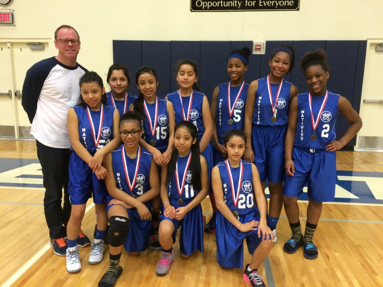 St. Andrew Nativity 6th Grade Girls win Fifth place in the CYO City BXB Championships March 14, 2015.