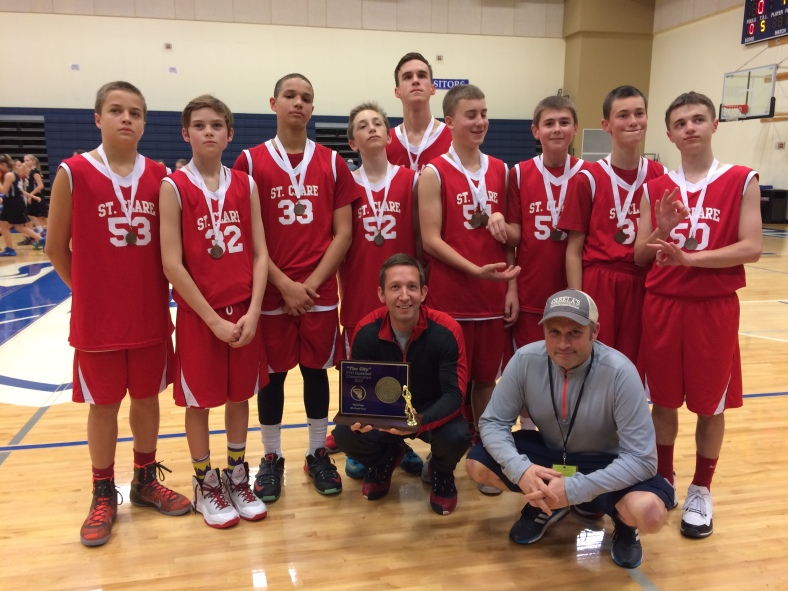 St. Clare takes third place in the CYO City Basketball Championships 2015