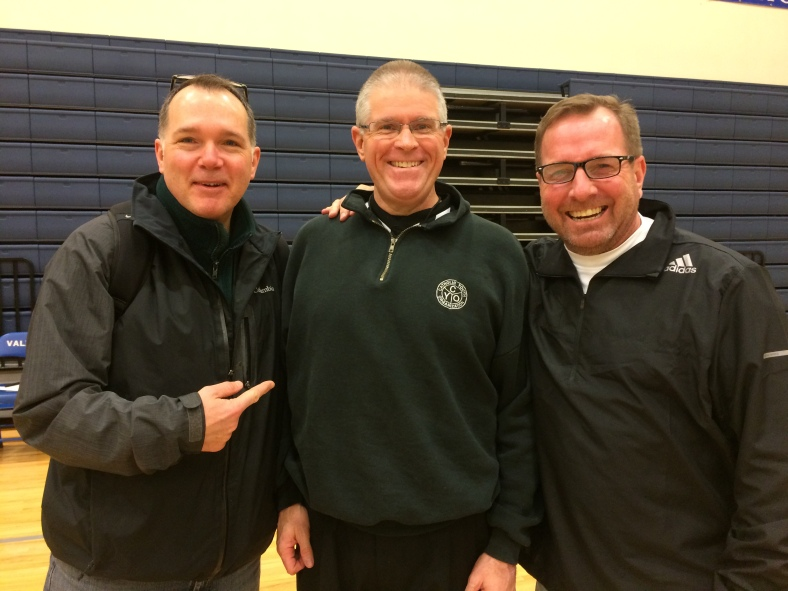 Paul Boileau, from St. John Fisher,  Rick Skayhan, Director of the Ref Corps Officials, and Coach Mildenberger from Holy Family