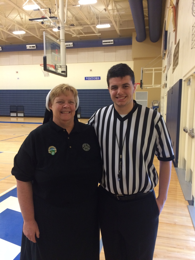 Sr. Krista and CYO Official, Kyle Garcia at the CYO Championships 2015