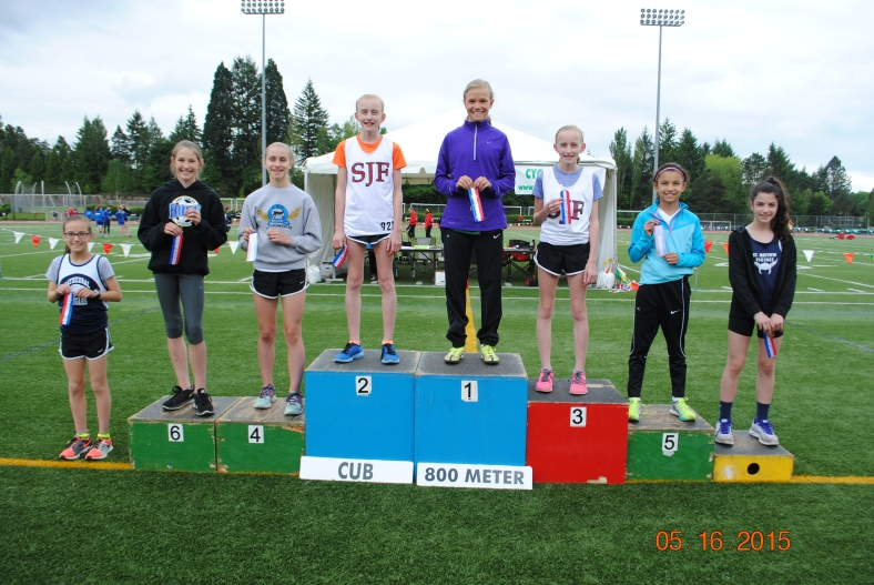 Cub Girls 800 Meter Run winners at the CYO Meet of Champions 2015