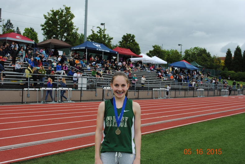 Ember Stratton (St. PIus X) Cadet Girls 800 Meter champion CYO Meet of Champions 2015
