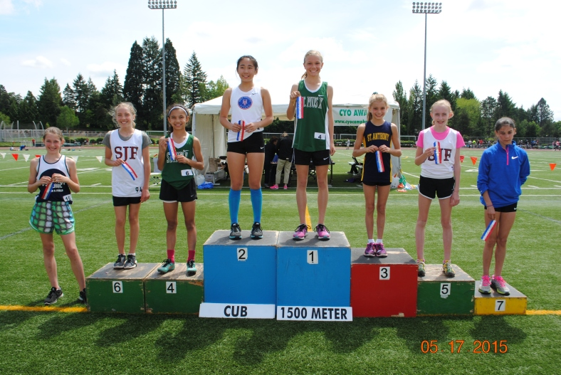 Champion: Chloe Foerster (St. PIus X), Second: Kelly Park (Holy Trinity), Third: Corrina Hatfield (St. Anthony), Fourth: Malea Cesar (St. PIus X), Paige Grant (St. John Fisher), Sixth: Fiona Lenth (St. John Fisher), Seventh: Olivia Silenzi (Valley Catholic), Eighth: Julia Sieber (Our Lady of the Lake)