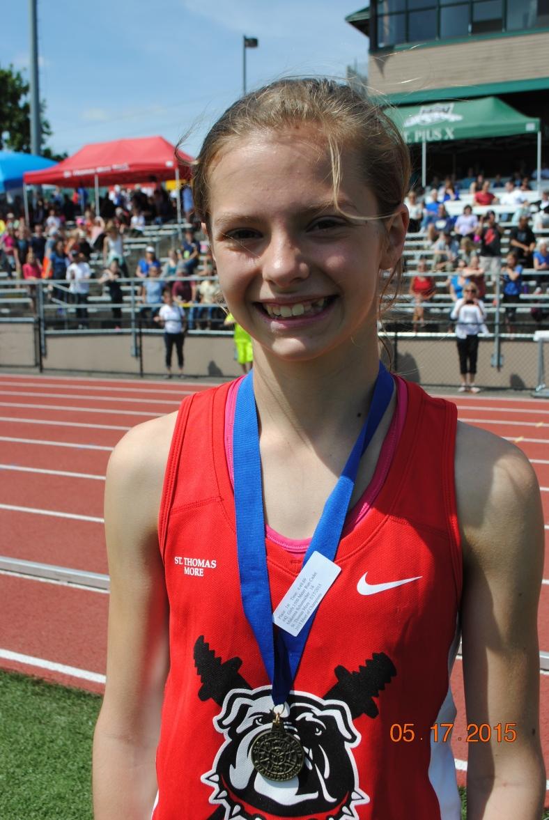 Makenna Schumacher (St. Thomas More) wins the 2015 CYO Meet of Champions 1500 Meter Run