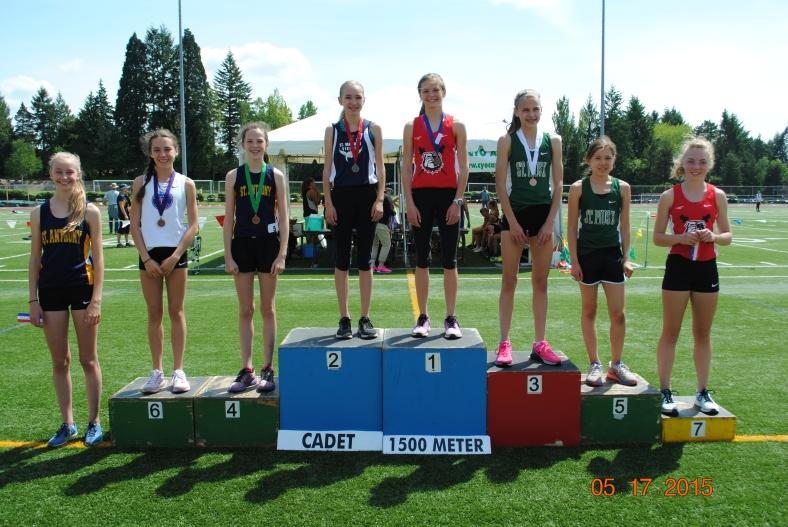 2015 CYO Meet of Champions award winners in the Cadet Girls 1500 meter Run