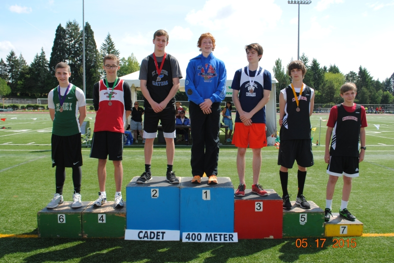 Blake Deringer wins the CYO Cadet 400 Meter Dash in the CYO Meet of Champions May 16 & 17, 2015