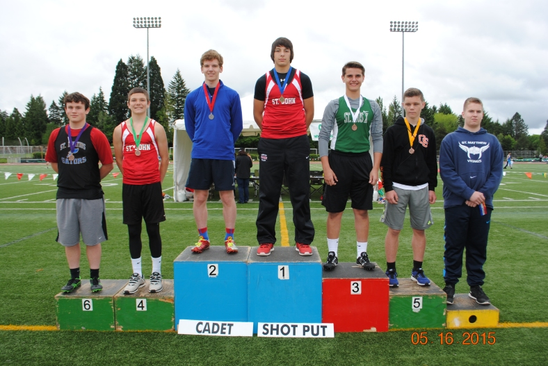 2015 Winners in the CYO Cadet Boys Shot Put at the CYO Meet of Champions 2015