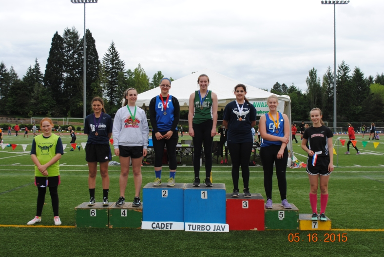 Cadet Girls Turbo Javelin winners at the CYO Meet of Champions 2015