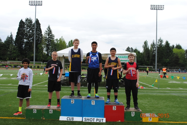 2015 Cub Boys Shot Put winners at the CYO Meet of Champions