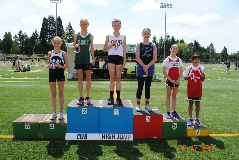 Cub Girl High Jump Winners at the CYO Meet of Champions