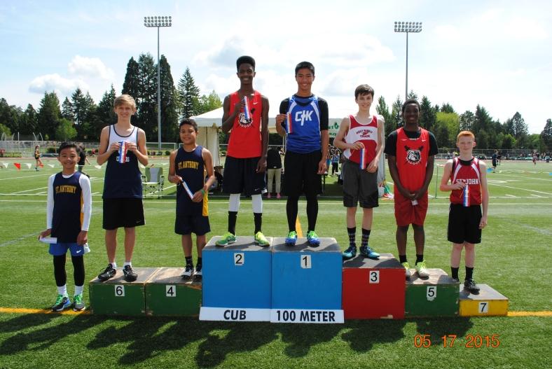 Cub Boys 100 Meter Dash winners in the CYO Meet of Champions 2015.