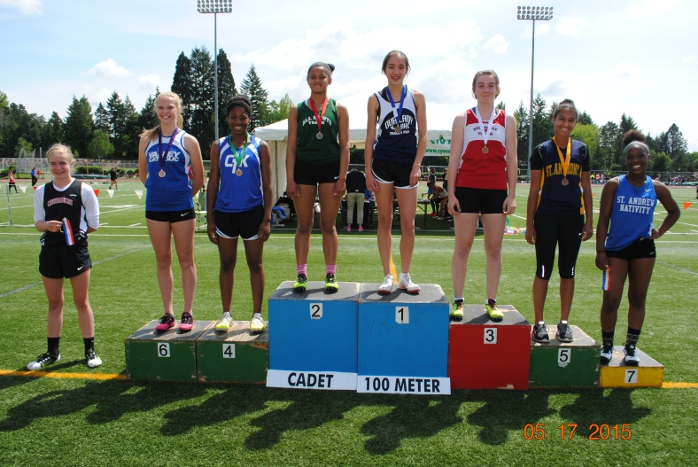 Cadet Girl 100 Meter Dash winners CYO Meet of Champions 2015
