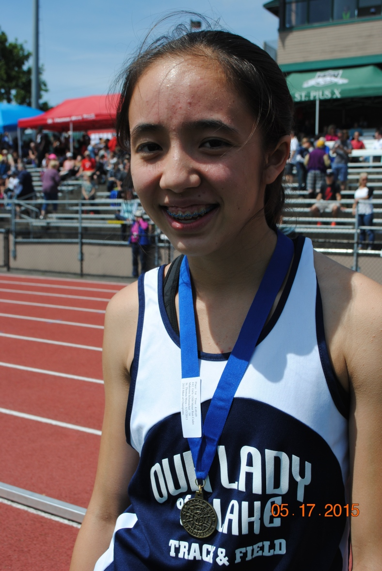 Zoe Zurasky from Our Lady of the Lake wins the Cadet Girls 100 Meter Dash at the CYO Meet of Champions 2015
