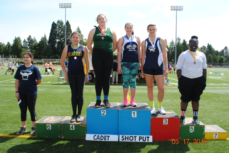 CYO Cadet Girls Shot Put winners at the CYO Meet of Champions 2015