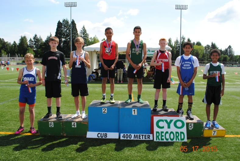 Cub Boy winners at the 2015 Meet of Champions in the 400 Meter Dash
