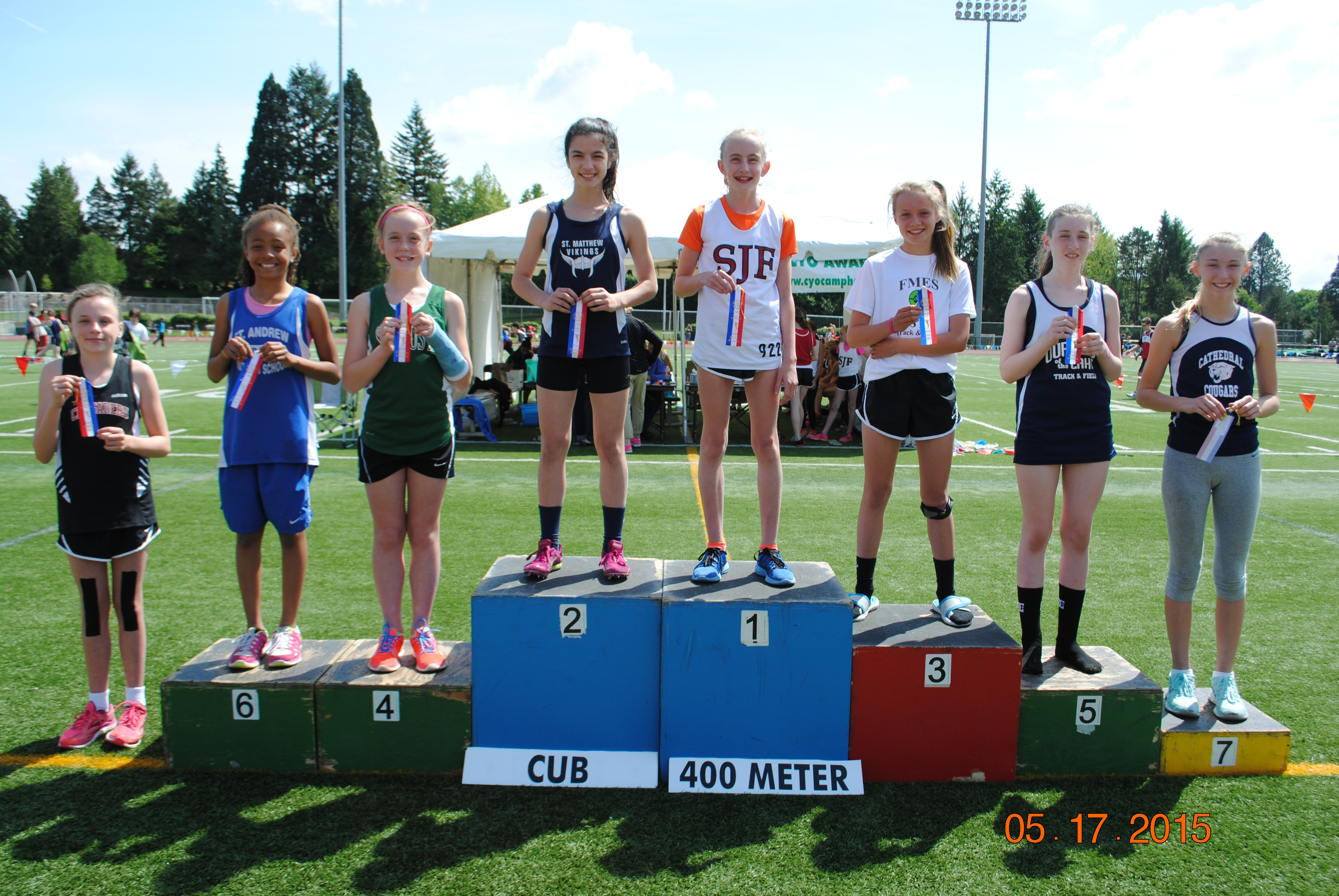 Cub Girl winners of the 400 Meter Dash at the CYO Meet of Champions May 2015