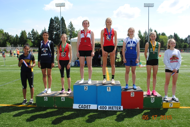 Cadet Girls 400 Meter winners at the CYO Meet of Champions 2015
