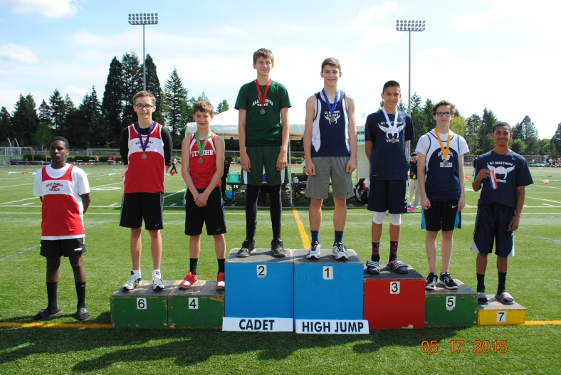 Cadet Boys High Jump winners 2015 CYO Meet of Champions