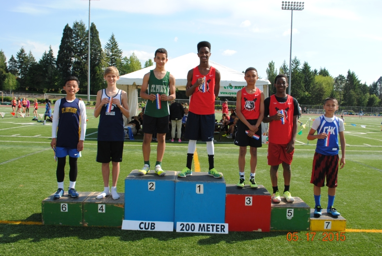 Winners in the Cub Boys 200 Meter Dash at the 2015 CYO Meet of Champions