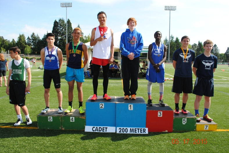 Winners in the Cadet  Boys 200 Meter Dash at the 2015 CYO Meet of Champions
