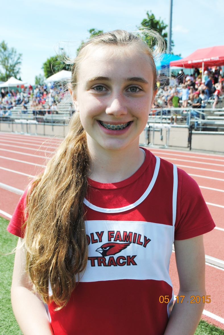 Kate Collins from Holy Family won the 2015 Cub Girls Long Jump Championship at the CYO Meet of Champions.