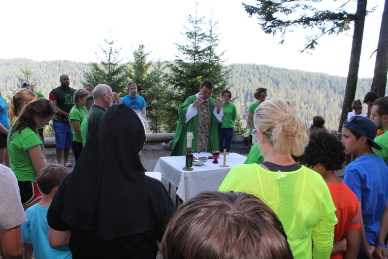 Mass with Fr. John Amsberry at Camp Howard Family Camp 2015
